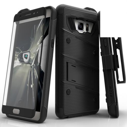 Samsung Galaxy Note 7 Case - [bolt] Heavy Duty Cover w/ Kickstand, Holster, Tempered Glass Screen Protector & Lanyard [Black] - (ID: 1BOLT-SAMGN7-BKBK)