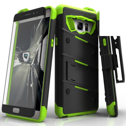 Samsung Galaxy Note 7  Case,  [Black/Neon Green] BOLT Heavy Duty Cover w/ Kickstand, Holster, Tempered Glass Screen Protector & Lanyard