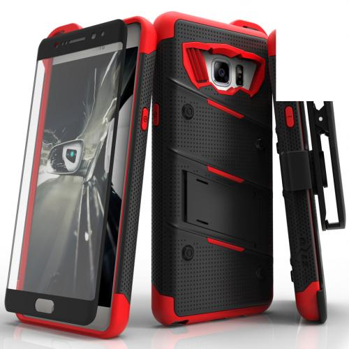 Samsung Galaxy Note 7  Case,  [Black/Red] BOLT Heavy Duty Cover w/ Kickstand, Holster, Tempered Glass Screen Protector & Lanyard