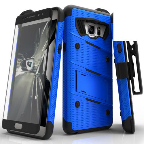 Samsung Galaxy Note 7 Case - [bolt] Heavy Duty Cover w/ Kickstand, Holster, Tempered Glass Screen Protector & Lanyard [Bue] - (ID: 1BOLT-SAMGN7-BLBK)
