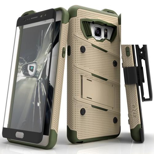 Samsung Galaxy Note 7 Case - [bolt] Heavy Duty Cover w/ Kickstand, Holster, Tempered Glass Screen Protector & Lanyard [Desert Tan/ Camo Green] - (ID: 1BOLT-SAMGN7-DTCG)