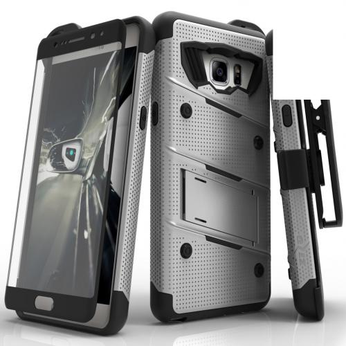 Samsung Galaxy Note 7  Case, [bolt] Heavy Duty Cover w/ Kickstand, Holster, Tempered Glass Screen Protector & Lanyard [Gray/Black] - (ID: 1BOLT-SAMGN7-GRBK)