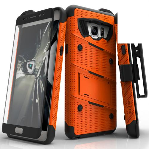 Samsung Galaxy Note 7  Case,  [Orange/Black] BOLT Heavy Duty Cover w/ Kickstand, Holster, Tempered Glass Screen Protector & Lanyard