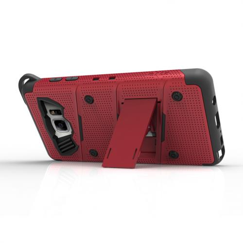 Samsung Galaxy Note 7 Case - [bolt] Heavy Duty Cover w/ Kickstand, Holster, Tempered Glass Screen Protector & Lanyard [Red] - (ID: 1BOLT-SAMGN7-RDBK)