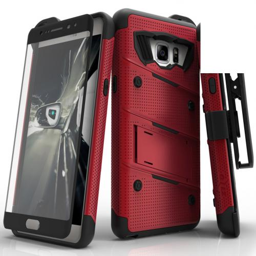Samsung Galaxy Note 7 Case - [BOLT] Heavy Duty Cover w/ Kickstand, Holster, Tempered Glass Screen Protector & Lanyard [Red]