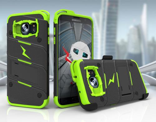 Samsung Galaxy S7 Edge Case - [BOLT] Heavy Duty Cover w/ Kickstand, Holster, & Lanyard [Black/ Neon Green] - Screen Protector NOT Included