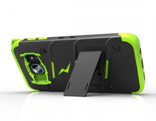 Samsung Galaxy S7 Edge Case - [bolt] Heavy Duty Cover w/ Kickstand, Holster, & Lanyard [Black/ Neon Green] - Screen Protector NOT Included - (ID: 1BOLT-SAMGS7ED-BKNGR)