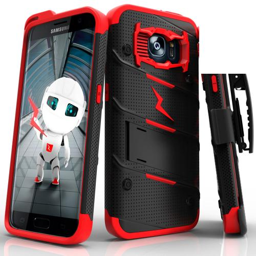 Samsung Galaxy S7 Edge Case - [bolt] Heavy Duty Cover w/ Kickstand, Holster, & Lanyard [Black/ Red] - Tempered Screen Protector Included - (ID: 1BOLT-SAMGS7ED-BKRD)