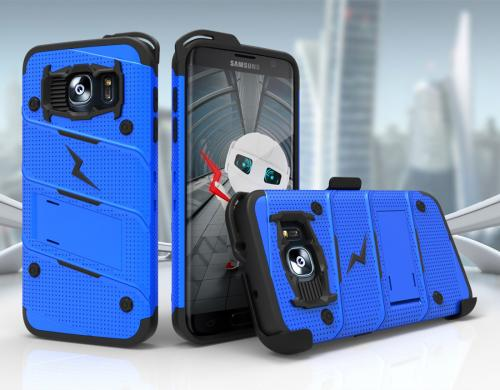 Samsung Galaxy S7 Edge Case - [BOLT] Heavy Duty Cover w/ Kickstand, Holster, & Lanyard [Blue/ Black] - Screen Protector NOT Included