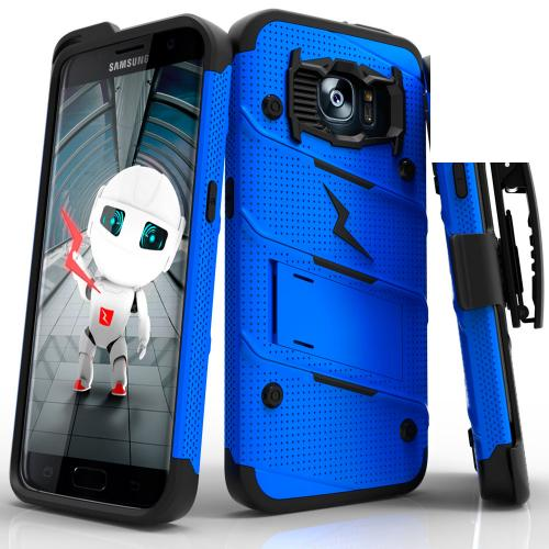 Samsung Galaxy S7 Edge Case - [bolt] Heavy Duty Cover w/ Kickstand, Holster, & Lanyard [Blue/ Black] - Tempered Screen Protector Included - (ID:1BOLT-SAMGS7ED-BLBK)