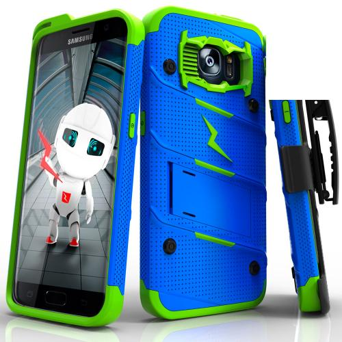Samsung Galaxy S7 Edge Case - [bolt] Heavy Duty Cover w/ Kickstand, Holster, & Lanyard [Blue/ Neon Green] - Screen Protector NOT Included - (ID: 1BOLT-SAMGS7ED-BLNGR)