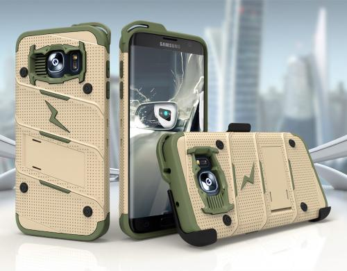 Samsung Galaxy S7 Edge Case - [BOLT] Heavy Duty Cover w/ Kickstand, Holster, & Lanyard [Desert Tan/ Camo Green] - Screen Protector NOT Included