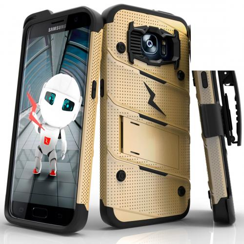 Samsung Galaxy S7 Edge Case - [bolt] Heavy Duty Cover w/ Kickstand, Holster, & Lanyard [Gold/ Black] - Tempered Screen Protector Included - (ID: 1BOLT-SAMGS7ED-GDBK)