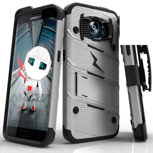 Samsung Galaxy S7 Edge Case - [BOLT] Heavy Duty Cover w/ Kickstand, Holster, & Lanyard [Gray/ Black] - Tempered Screen Protector Included