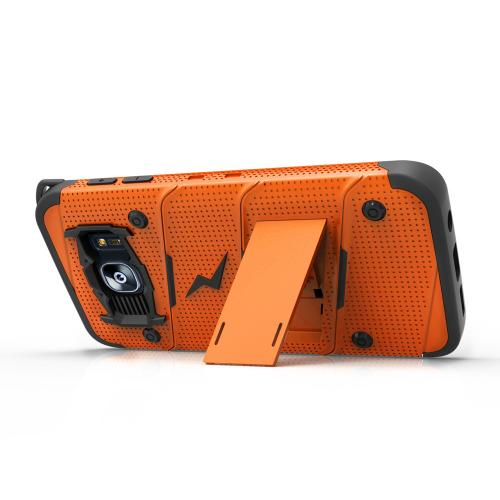 Samsung Galaxy S7 Edge Case - [BOLT] Heavy Duty Cover w/ Kickstand, Holster, & Lanyard [Orange/ Black] - Screen Protector NOT Included