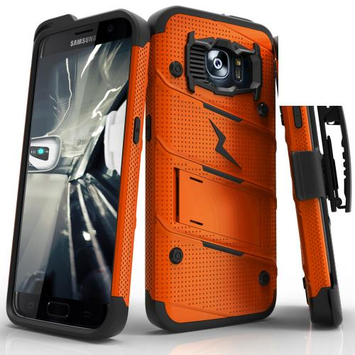 Samsung Galaxy S7 Edge Case - [bolt] Heavy Duty Cover w/ Kickstand, Holster, & Lanyard [Orange/ Black] - Tempered Screen Protector Included - (ID: 1BOLT-SAMGS7ED-ORBK)