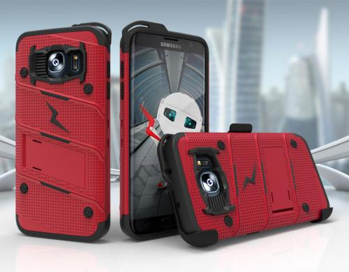 Samsung Galaxy S7 Edge Case - [bolt] Heavy Duty Cover w/ Kickstand, Holster, & Lanyard [Red/ Black] - Tempered Screen Protector Included - (ID: 1BOLT-SAMGS7ED-RDBK)