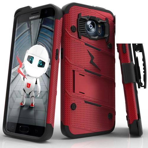 Samsung Galaxy S7 Edge Case - [BOLT] Heavy Duty Cover w/ Kickstand, Holster, & Lanyard [Red/ Black] - Screen Protector NOT Included