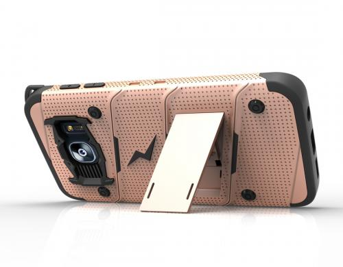 Samsung Galaxy S7 Edge Case - [bolt] Heavy Duty Cover w/ Kickstand, Holster, & Lanyard [Rose Gold/ Black] - Tempered Screen Protector Included - (ID: 1BOLT-SAMGS7ED-RGDBK)