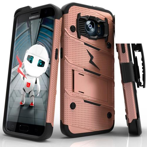 Samsung Galaxy S7 Edge Case - [BOLT] Heavy Duty Cover w/ Kickstand, Holster, & Lanyard [Rose Gold/ Black] - Screen Protector NOT Included