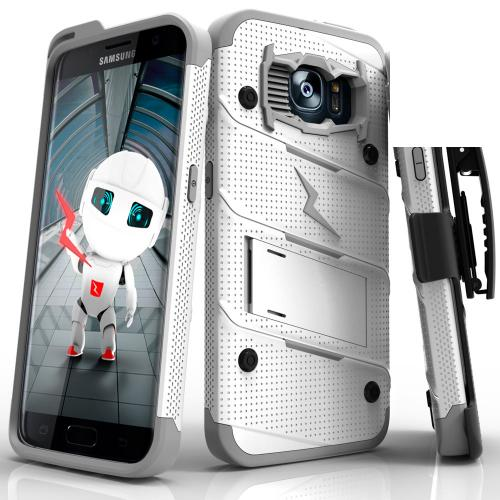Samsung Galaxy S7 Edge Case - [BOLT] Heavy Duty Cover w/ Kickstand, Holster, & Lanyard [White/ Gray] - Screen Protector NOT Included
