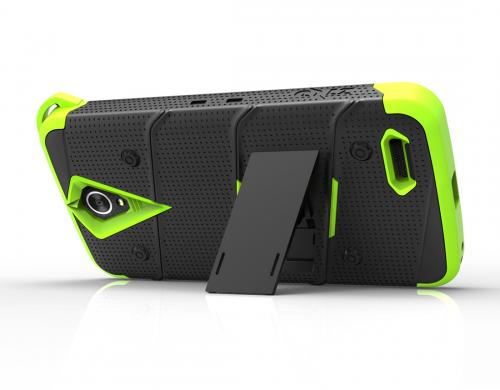 ZTE Warp 7/ ZTE Grand X 3 Case - [bolt] Heavy Duty Cover w/ Kickstand, Holster, Tempered Glass Screen Protector & Lanyard [Black/ Neon Green] - (ID: 1BOLT-ZTEX3-BKNGR)