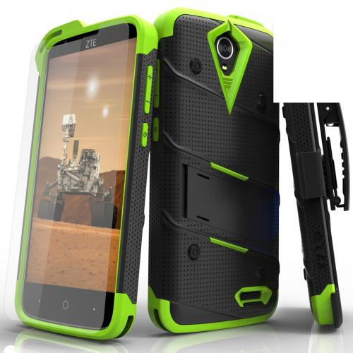 [ZTE Warp 7/ ZTE Grand X 3] Case - [BOLT] Heavy Duty Cover w/ Kickstand, Holster, Tempered Glass Screen Protector & Lanyard [Black/ Neon Green]