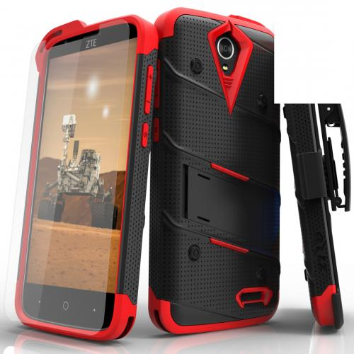 ZTE Warp 7/ ZTE Grand X 3 Case - [bolt] Heavy Duty Cover w/ Kickstand, Holster, Tempered Glass Screen Protector & Lanyard [Black/ Red] - (ID: 1BOLT-ZTEX3-BKNGR)