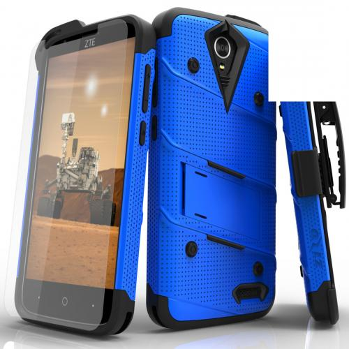 ZTE Warp 7/ ZTE Grand X 3 Case - [bolt] Heavy Duty Cover w/ Kickstand, Holster, Tempered Glass Screen Protector & Lanyard [Blue] - (ID: 1BOLT-ZTEX3-BLBK)