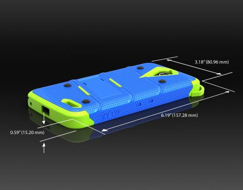 ZTE Warp 7/ ZTE Grand X 3 Case - [bolt] Heavy Duty Cover w/ Kickstand, Holster, Tempered Glass Screen Protector & Lanyard [Blue/ Neon Green] - (ID: 1BOLT-ZTEX3-BLBK)