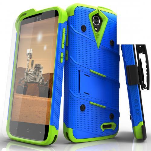 [ZTE Warp 7/ ZTE Grand X 3] Case - [BOLT] Heavy Duty Cover w/ Kickstand, Holster, Tempered Glass Screen Protector & Lanyard [Blue/ Neon Green]