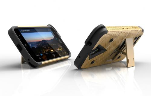 [ZTE Warp 7/ ZTE Grand X 3] Case - [BOLT] Heavy Duty Cover w/ Kickstand, Holster, Tempered Glass Screen Protector & Lanyard [Gold]
