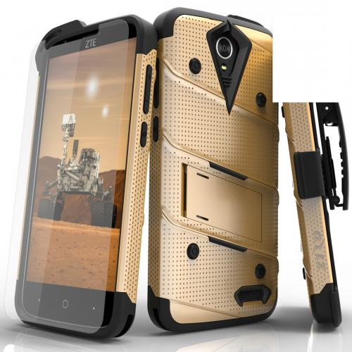 ZTE Warp 7/ ZTE Grand X 3 Case - [bolt] Heavy Duty Cover w/ Kickstand, Holster, Tempered Glass Screen Protector & Lanyard [Gold] - (ID: 1BOLT-ZTEX3-GDBK)