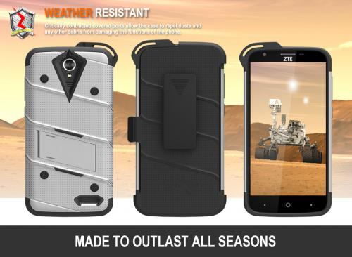 [ZTE Warp 7/ ZTE Grand X 3] Case - [BOLT] Heavy Duty Cover w/ Kickstand, Holster, Tempered Glass Screen Protector & Lanyard [Gray]
