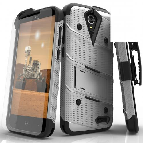 ZTE Warp 7/ ZTE Grand X 3 Case - [bolt] Heavy Duty Cover w/ Kickstand, Holster, Tempered Glass Screen Protector & Lanyard [Gray] - (ID: 1BOLT-ZTEX3-GRBK)