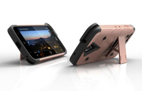 ZTE Warp 7/ ZTE Grand X 3 Case - [bolt] Heavy Duty Cover w/ Kickstand, Holster, Tempered Glass Screen Protector & Lanyard [Rose Gold] - (ID: 1BOLT-ZTEX3-RGDBK)