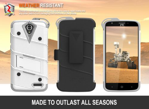 ZTE Warp 7/ ZTE Grand X 3 Case - [bolt] Heavy Duty Cover w/ Kickstand, Holster, Tempered Glass Screen Protector & Lanyard [Whtie/ Gray] - )ID: 1BOLT-ZTEX3-WHGR)