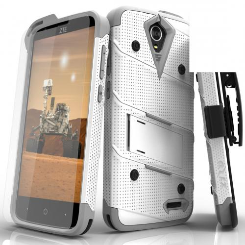 [ZTE Warp 7/ ZTE Grand X 3] Case - [BOLT] Heavy Duty Cover w/ Kickstand, Holster, Tempered Glass Screen Protector & Lanyard [Whtie/ Gray]