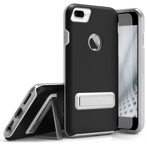 Apple iPhone 7 Plus (5.5 inch) Case, ELITE Cover Slim & Protective Case w/ Built-in [MAGNETIC Kickstand] Shockproof Protection Lightweight [Metallic Hybrid] w/ Tempered Glass [Black] - (ID: 1ELT-IPH7PLUS-BLK)