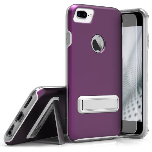Apple iPhone 7 Plus (5.5 inch) Case, ELITE Cover Slim & Protective Case w/ Built-in [MAGNETIC Kickstand] Shockproof Protection Lightweight [Metallic Hybrid] w/ Tempered Glass [Purple] - (ID: 1ELT-IPH7PLUS-PU)