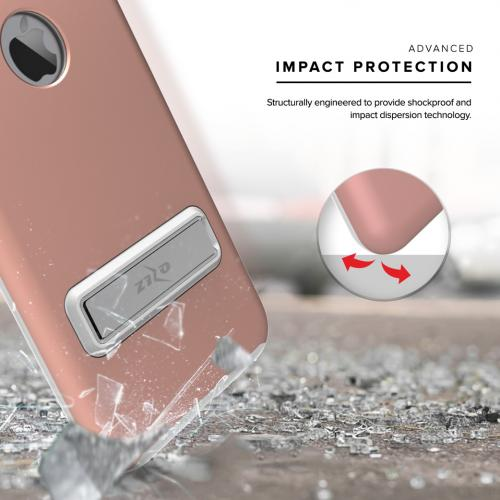 Apple iPhone 7 Plus (5.5 inch) Case, ELITE Cover Slim & Protective Case w/ Built-in [MAGNETIC Kickstand] Shockproof Protection Lightweight [Metallic Hybrid] w/ Tempered Glass [Rose Gold] - (ID: 1ELT-IPH7PLUS-RGD)
