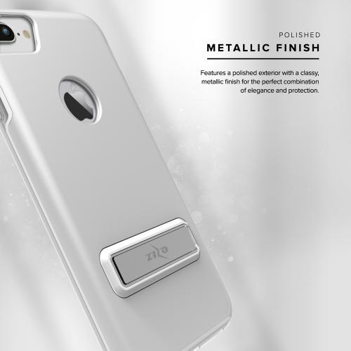 Apple iPhone 7 Plus (5.5 inch) Case, ELITE Cover Slim & Protective Case w/ Built-in [MAGNETIC Kickstand] Shockproof Protection Lightweight [Metallic Hybrid] w/ Tempered Glass [Silver] - (ID: 1ELT-IPH7PLUS-SL)