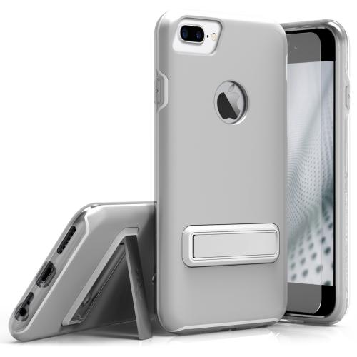 Apple iPhone 7 Plus (5.5 inch) Case, ELITE Cover Slim & Protective Case w/ Built-in [MAGNETIC Kickstand] Shockproof Protection Lightweight [Metallic Hybrid] w/ Tempered Glass [Silver]
