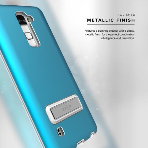 [LG Stylo 2/ LG Stylo 2 Plus] Case, ELITE Cover Slim & Protective Case w/ Built-in [MAGNETIC Kickstand] Shockproof Protection Lightweight [Metallic Hybrid] w/ Tempered Glass [Turquoise]