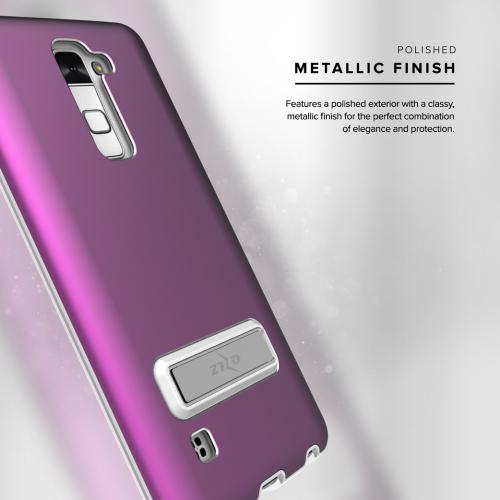 LG Stylo 2/ LG Stylo 2 Plus Case, ELITE Cover Slim & Protective Case w/ Built-in [MAGNETIC Kickstand] Shockproof Protection Lightweight [Metallic Hybrid] w/ Tempered Glass [Purple]