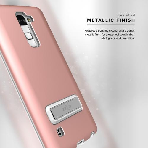 LG Stylo 2/ LG Stylo 2 Plus Case, ELITE Cover Slim & Protective Case w/ Built-in [MAGNETIC Kickstand] Shockproof Protection Lightweight [Metallic Hybrid] w/ Tempered Glass [Rose Gold] - (ID: 1ELT-LGLS775-RGD)