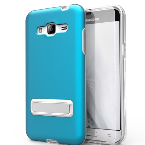 Samsung Galaxy J7 (2015) Case, ELITE Cover Slim & Protective Case w/ Built-in [MAGNETIC Kickstand] Shockproof Protection Lightweight [Metallic Hybrid] w/ Tempered Glass [Turquoise] - (ID: 1ELT-SAMGJ7-BL)