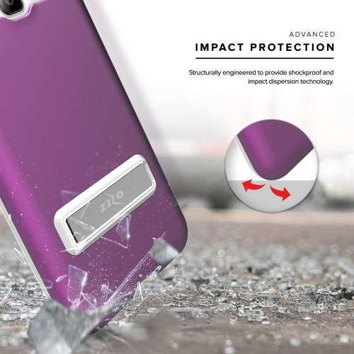 Samsung Galaxy J7 (2015) Case, ELITE Cover Slim & Protective Case w/ Built-in [MAGNETIC Kickstand] Shockproof Protection Lightweight [Metallic Hybrid] w/ Tempered Glass [Purple] - (ID: 1ELT-SAMGJ7-PU)