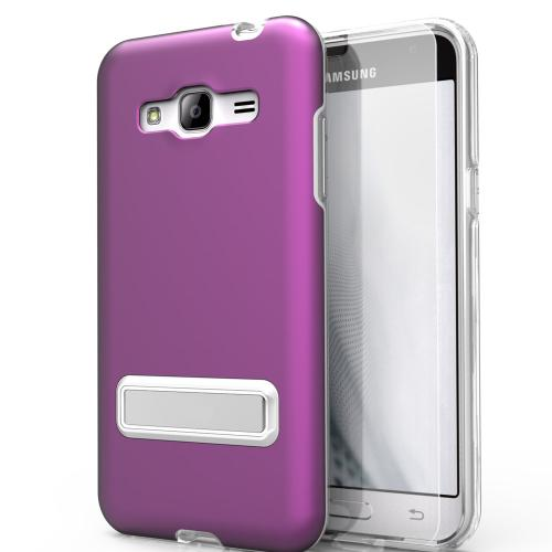 Samsung Galaxy J7 (2015) Case, ELITE Cover Slim & Protective Case w/ Built-in [MAGNETIC Kickstand] Shockproof Protection Lightweight [Metallic Hybrid] w/ Tempered Glass [Purple]