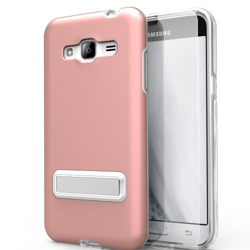 Samsung Galaxy J7 (2015) Case, ELITE Cover Slim & Protective Case w/ Built-in [MAGNETIC Kickstand] Shockproof Protection Lightweight [Metallic Hybrid] w/ Tempered Glass [Rose Gold] - (ID: 1ELT-SAMGJ7-RGD)